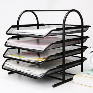4 TIER Metal Filing Letter Trays Stacking Office Desk Paper Document Organiser