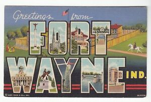 56199-1945-LARGE-LETTER-POSTCARD-GREETINGS-FROM-FORT-WAYNE-INDIANA