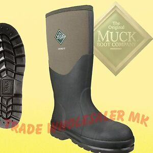 Muck Chore Steel black CHS-000A or moss CHS-STMG safety wellington boot sz 4-13