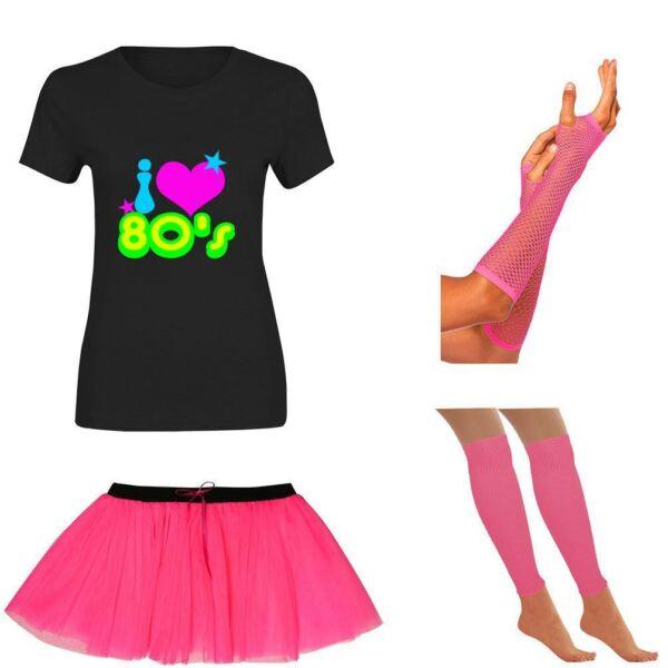 100% Verdadero Para Mujer I Love 80s Camiseta Falda Tutú Guantes Neón Polainas Set Gallina Fiesta 5899-ver GarantíA 100%