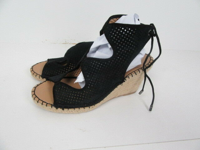 New Franco Sarto Womens  Espadrille Wedge, Black Suede,  Size 9 M