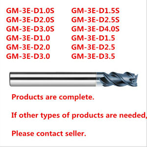 3flute 1mm Tungsten Steel flat Milling cutter VHM end mill HCR40 GM-3E-D1.0 3pcs