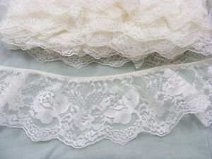 Gathered Ivory Lace x 5 metres 90mm wide (020)