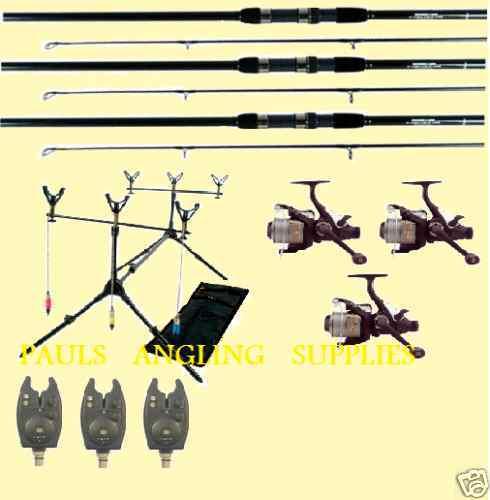 CARP FISHING KIT 3 RODS 3 REELS ROD POD + BITE ALARMS