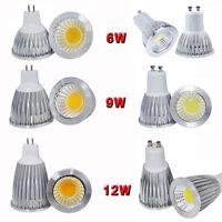10pcs Mr16 Gu10 Cob Dimmable 6w 9w 12w Spot Down Light Led Lamp Bulb Bright