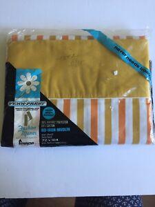 Penney-039-s-TWIN-SHEET-Penn-Prest-Fashion-Manor-STRIPES-yellow-orange-white-VTG