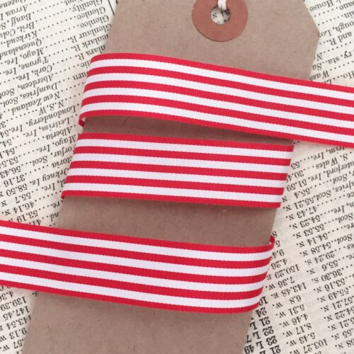Red and White Nautical Stripe Ribbon 16mm Per 1M  or *SAVE* with 3M 5M 25M roll