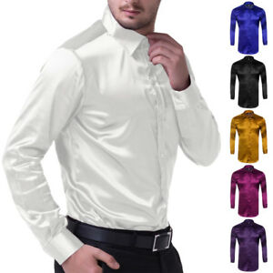 Men-039-s-Long-Sleeve-Casual-Luxury-Shirt-Wedding-Silk-Like-Satin-Dress-Shirt-Tops