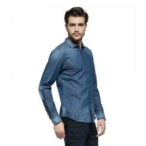 a80615183 Image is loading Replay-Denim-Shirt-Blue-Washed-Stretch-Genuine-SAVE-