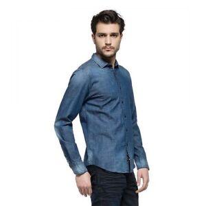 Replay-Azul-Lavado-Denim-elastico-Camisa-m4941a-000-15a-893-Ahorro-50