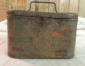 RARE Antique Penny Post Cut Plug Tobacco Tin Can Vintage Union Made Strater Bro