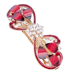 Red-Fashion-Ladies-Rhinestone-Crystal-Flower-Hair-Pin-Barrette-Hairpin-Clips