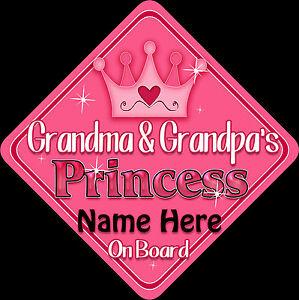Personnalisé Nana/'s Princess Pamplemousse//Gol Bébé//Enfant à bord Voiture Fenêtre Signe