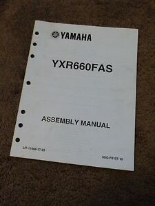 2004 Yamaha ATV Assembly Manual YXR660FAS Rhino 660 Adjustments DEALER