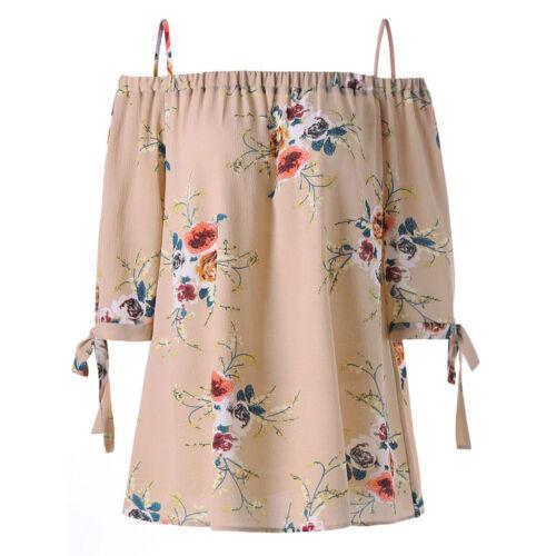 2018 Moda Donna floreale ONE OFF SPALLA PLUS Loose Tops Camicetta Camicia