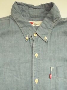 Levi-039-s-Denim-Shirt-Herren-Slim-Fit-Grosse-Knopfleiste-hellblau-LSHT-494