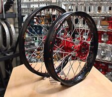 HONDA MX WHEELS CRF250 04-13 SET EXCEL RIMS RED NIPPLES FASTER USA HUBS NEW