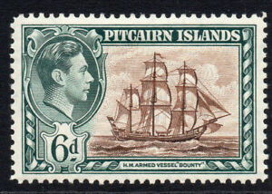Pitcairn-Islands-6d-Stamp-c1938-51-Mounted-Mint-479