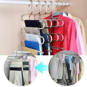 Edelstahl-Hosen-Hosen-Kleiderbuegel-Kleidung-Magic-Rack-Closet-Holder-Organizer