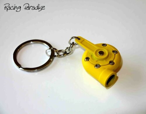 YELLOW SPINNING TURBO TURBOCHARGER KEYCHAIN FASHION KEYRING 9 COLORS T3 T4 T25