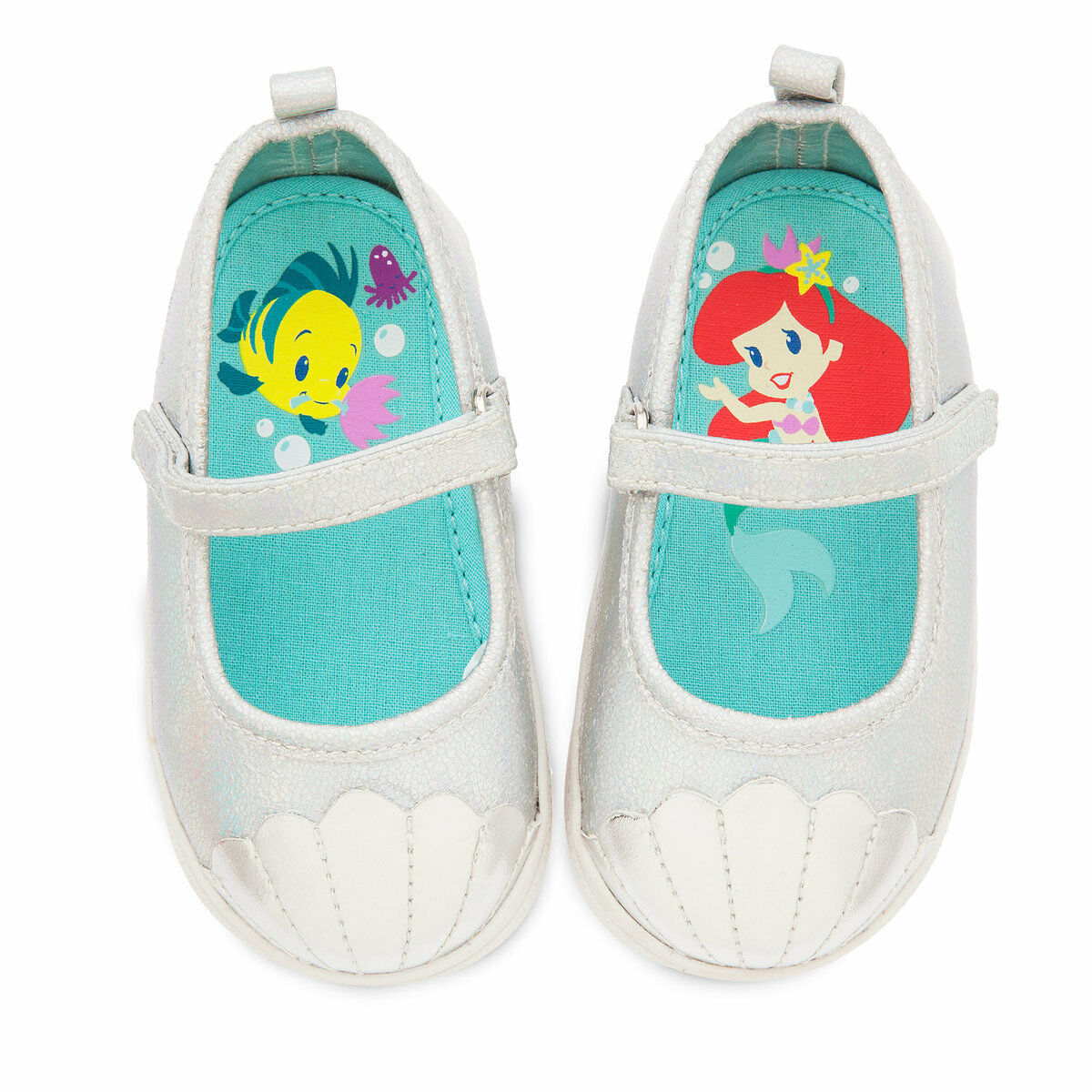Disney Store Ariel Flounder Shoes Baby Size 3 5 The Little Mermaid 0-18 Mo 4