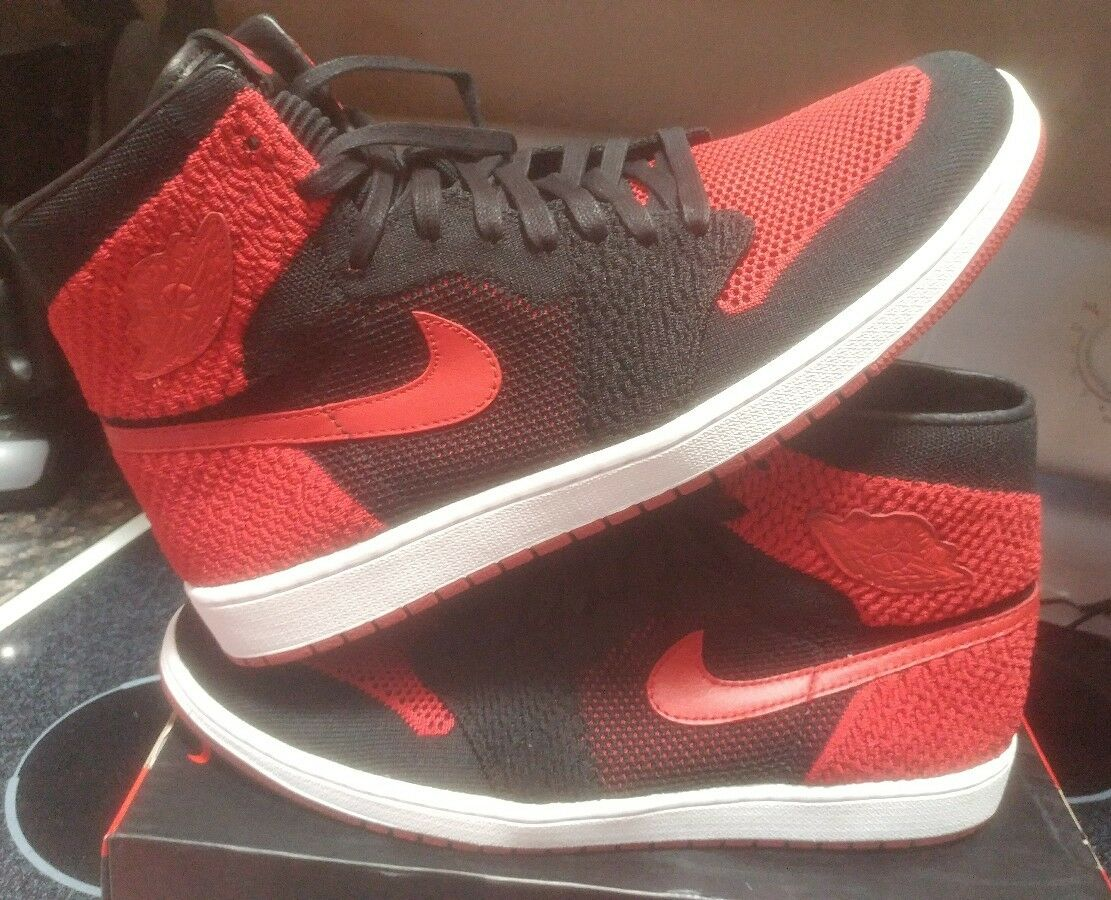 Nike Air Jordan 1 Retro High Flyknit Banned Bred Black Red 919704-001 Size 14 xi