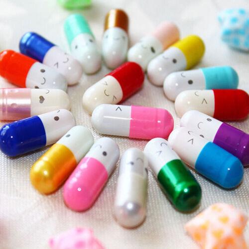 50 Pcs Half Color Pills Secret Message in a Bottle Capsule Letter Cartoon Lov/_sh