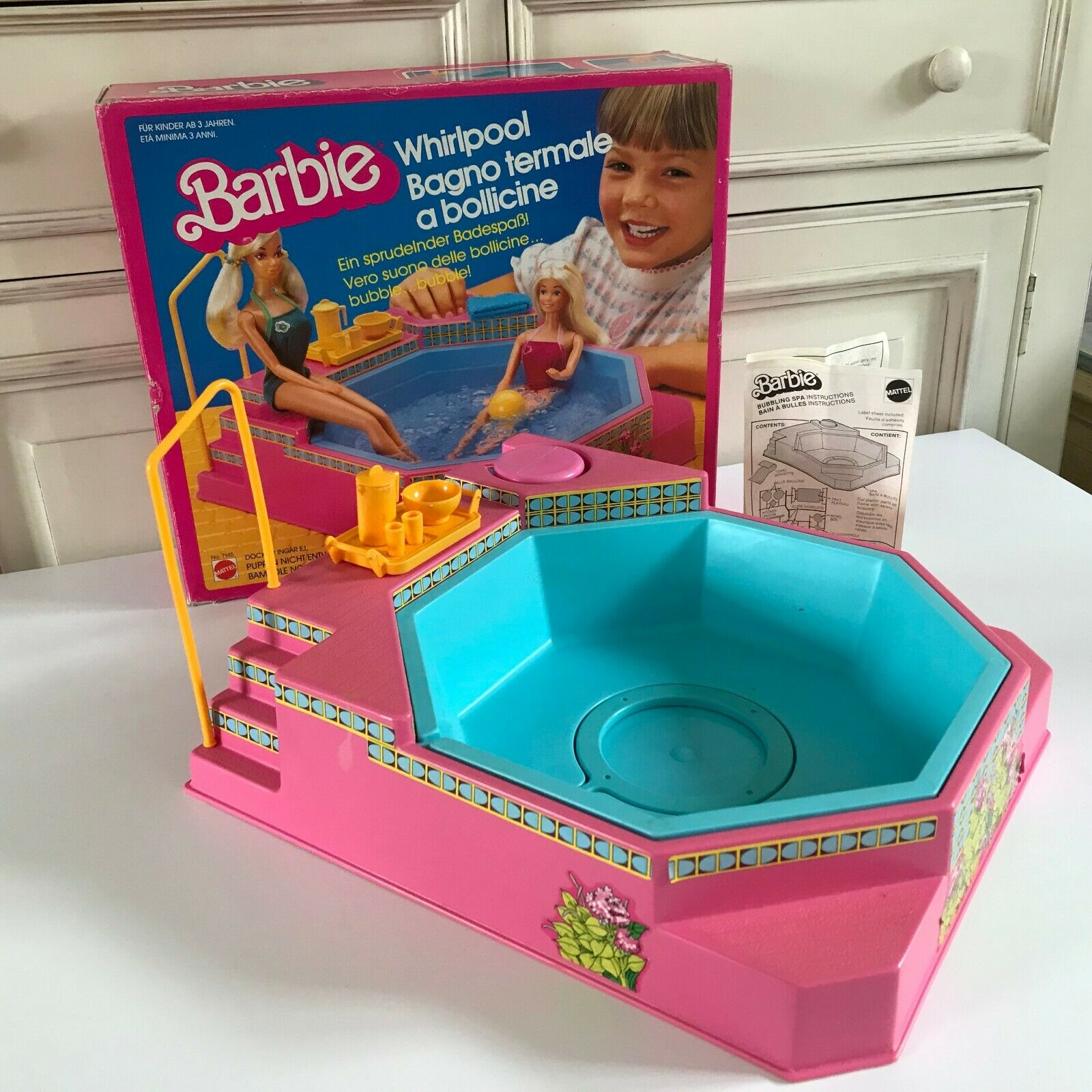 Ancien Jouet Barbie Bubbling Spa Bain à Bulles Mattel 1983 Boite D'origine