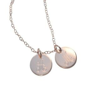 Details About Mom Charm Necklace Initial Monogram Two 1 2 Disc Rose Gold Custom Disc
