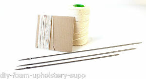 "Buttoning needle /& twine kit 12/"" double point upholstery needle"