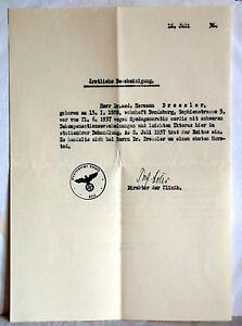 ÄRZTLICHE BESCHEINIGUNG Medizinische Klinik Kiel 1937 | eBay