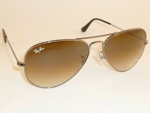 New RAY BAN Aviator Gunmetal Frame RB 3025 004 51 Gradient Brown ... 4bf33b4129
