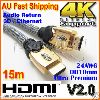 15m / 20m Premium HDMI Cable V2.0 24AWG 3D 4K Ultra HD Gold Plated Projector TV