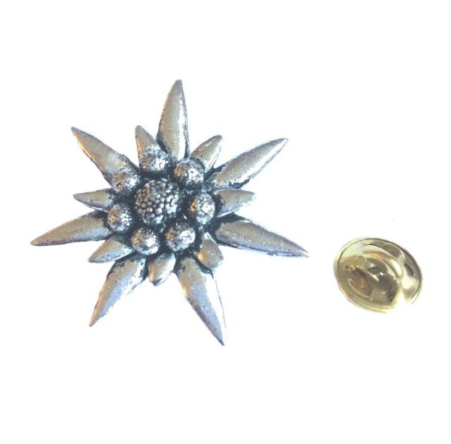 Edelweiss Lapel Pin Badge. Handmade in England from Fine English Pewter.