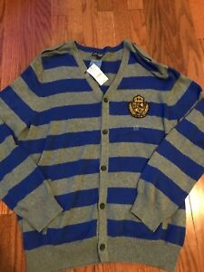 53e957e15 Express Mens Large L Blue Logo Pocket Fleece Cardigan Sweater Jacket ...