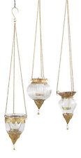 Antiqued Brass Indian Hanging Lanterns Set of 3 - Glass  by World Market