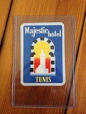 Vintage Antique Art Deco Majestic Tunis Tunisia Hotel Luggage Label Sticker