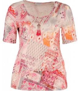 4783e9d6a3d351 Chalou Damen T-Shirt A-Linie Weiß Pink Kurzarm große Größen | eBay