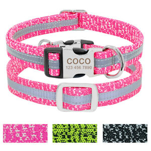 Reflective-Dog-Collar-Personalised-Custom-ID-Name-Engraved-Pet-Name-Owner-Phone