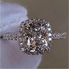 Handmade Cushion cut 3ct Diamonique Cz 925 Sterling Silver Women Wedding Ring