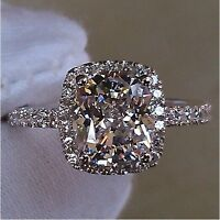 Handmade Cushion cut 3ct Diamonique Cz 925 Sterling Silver Women Wedding Ring