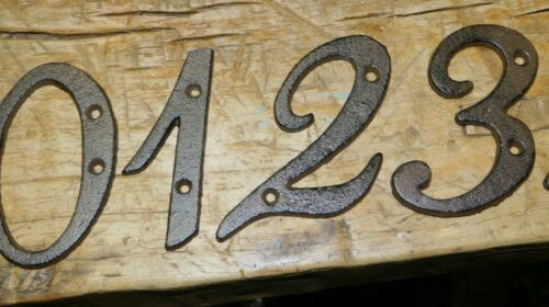 Rustic BROWN Cast Iron Metal House Numbers Street Address 4 INCH Phone #/'s 2