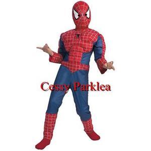 086128a520ef1 F4-4 Kids Muscle Spiderman Boy's Superhero Costume Fancy Dress S M L ...