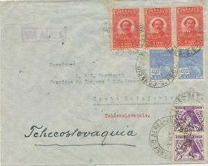 Brazil-1938-Airmail-Cover-with-CHOKED-Mixed-Postage-Rio-de-Janeiro-Prague