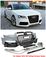 RS5 Style Front Bumper Cover With Mesh Black Grille For 12-15 Audi A5 S5 NO PDC