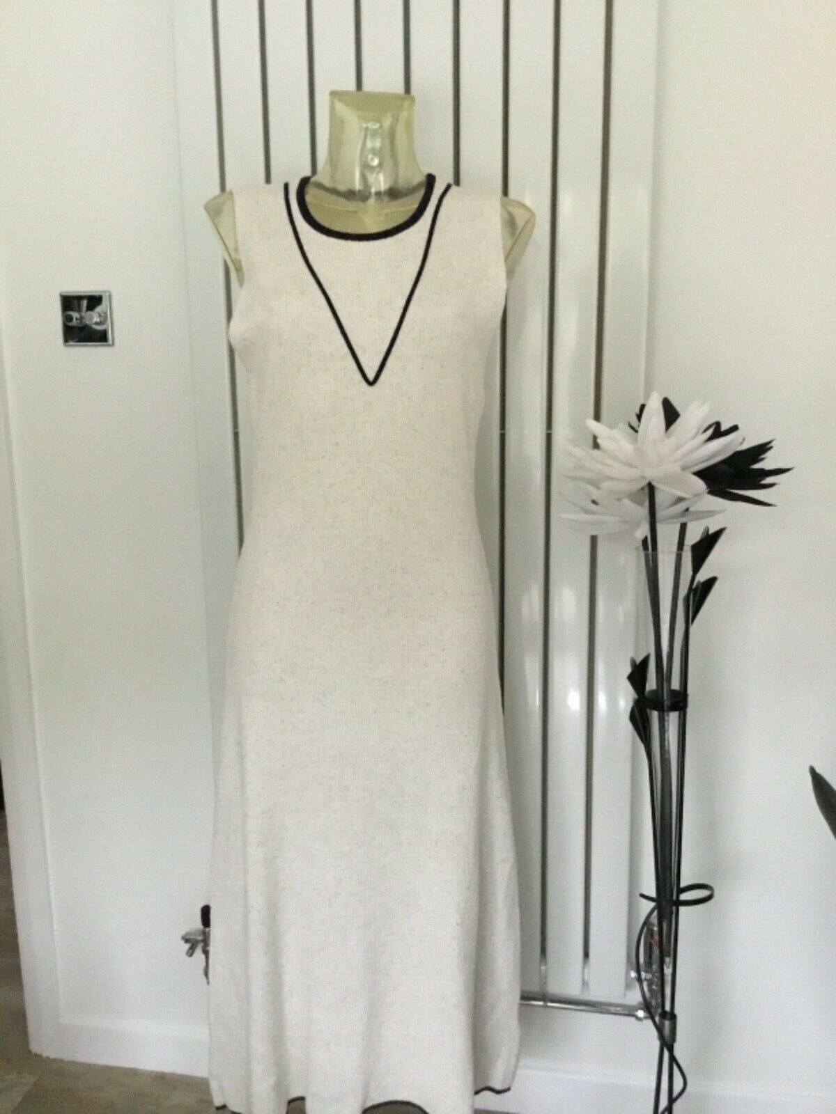 M&S Marks Spencer Tipped Knitted Maxi/Long Dress Oatmeal  Size XL RRP £39.50