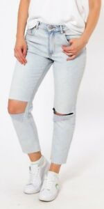 SLIM MOM JEANS MID WAISTED WOMENS DENIM TROUSERS RIP FADED PETITE PANTS 6-16