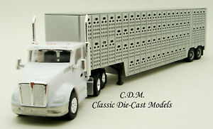 Kenworth-KW-T680-Day-Cab-w-Silver-48-039-Cattle-Trailer-HO-1-87-Scale-Promotex-6585