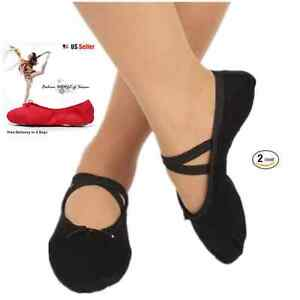 2-Pack New fashion Ballet Dance Yoga Gymnastics Canvas Slipper Adult Shoes
