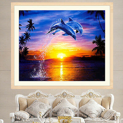 DIY 5D Diamond Painting Sunset Dolphin Embroidery Cross Stitch Crafts Home Decor